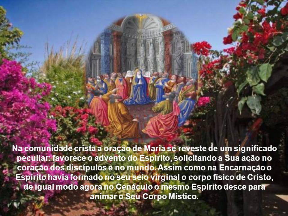 Enquanto na hora da Encarnação o Espírito Santo tinha descido sobre ela, como pessoa chamada a participar dignamente no grande mistério, agora tudo se