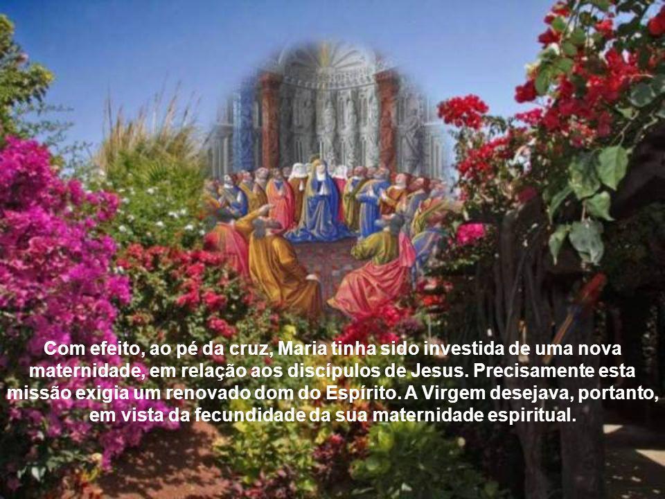 Durante aquela oração no Cenáculo, em atitude de comunhão profunda com os Apóstolos, com algumas mulheres e com os irmãos de Jesus, a Mãe do Senhor invoca o dom do Espírito para si mesma e para a Comunidade.