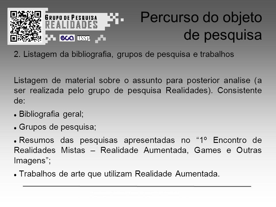 2º ENCONTRO INTERNACIONAL DE GRUPOS DE PESQUISA: CONVERGÊNCIAS ENTRE ARTE CIÊNCIA E TECNOLOGIA & REALIDADES MISTAS Percurso do objeto de pesquisa 2.