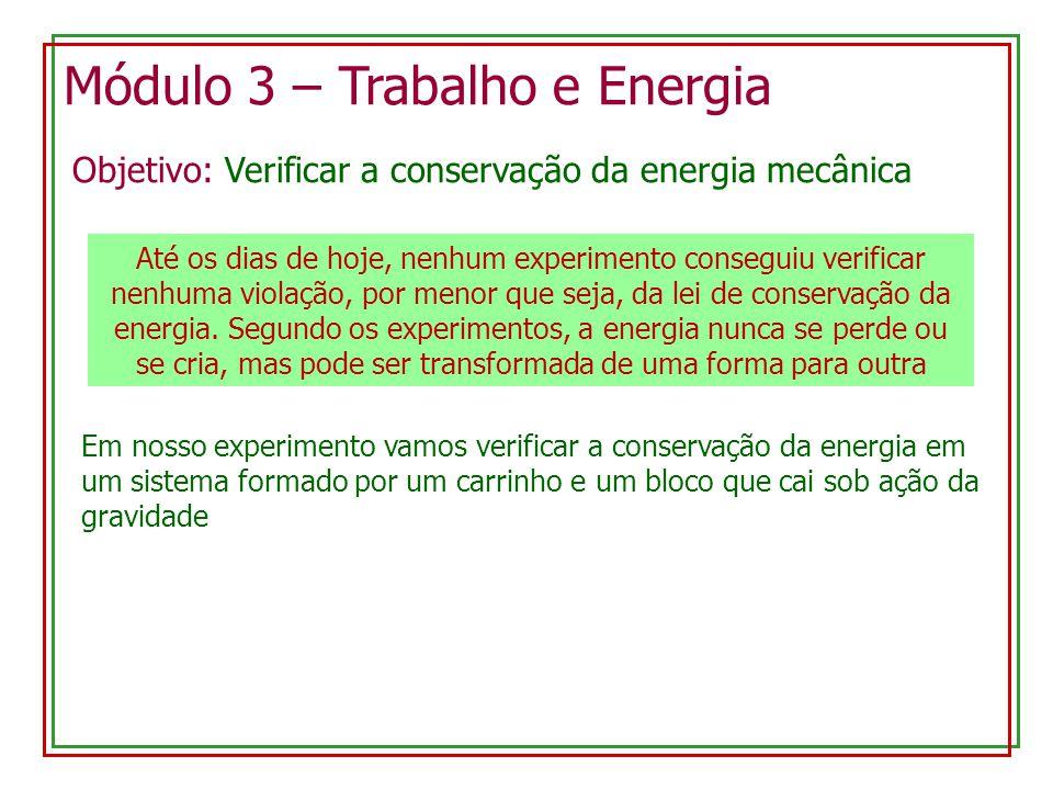Módulo 3 – Trabalho e Energia Objetivo: Verificar a conservação da energia mecânica Até os dias de hoje, nenhum experimento conseguiu verificar nenhum