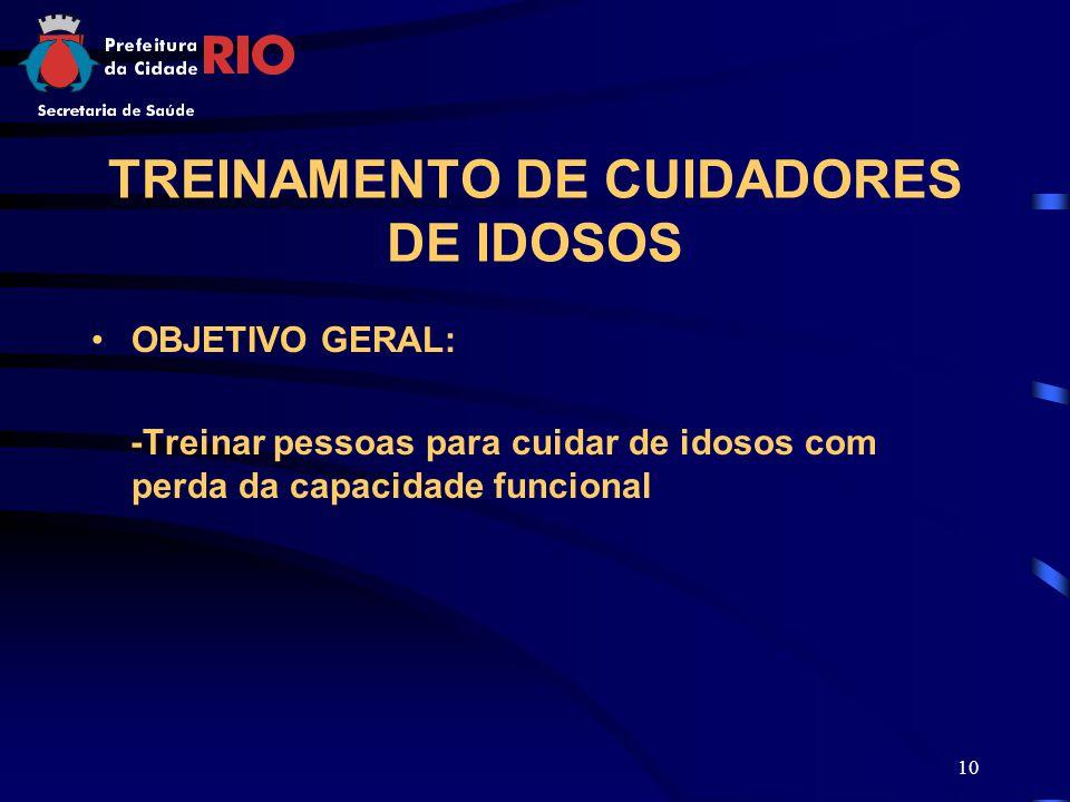 10 TREINAMENTO DE CUIDADORES DE IDOSOS OBJETIVO GERAL: -Treinar pessoas para cuidar de idosos com perda da capacidade funcional