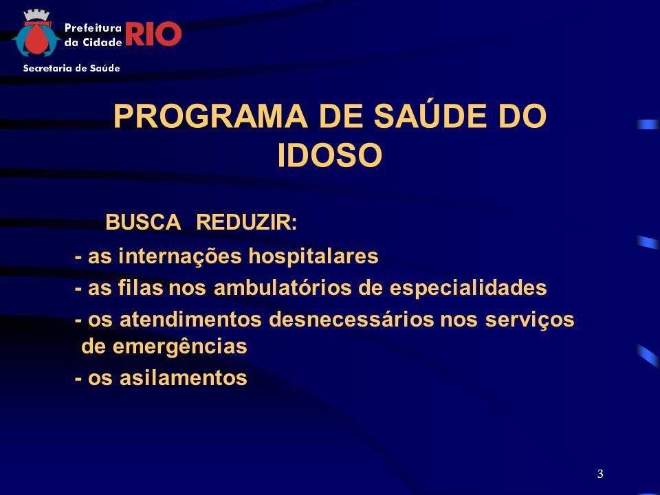 3 PROGRAMA DE SAÚDE DO IDOSO BUSCA REDUZIR: - as internações hospitalares - as filas nos ambulatórios de especialidades - os atendimentos desnecessári
