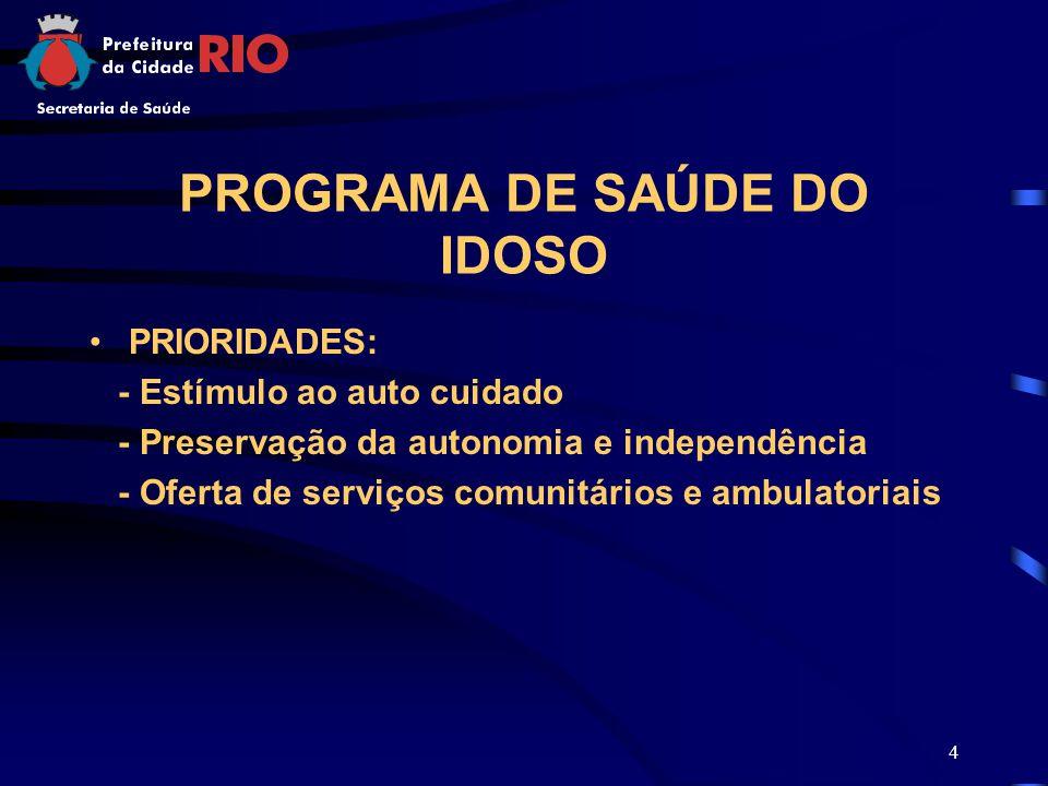4 PROGRAMA DE SAÚDE DO IDOSO PRIORIDADES: - Estímulo ao auto cuidado - Preservação da autonomia e independência - Oferta de serviços comunitários e ambulatoriais