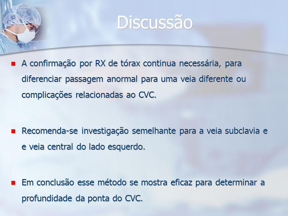 Discussão A confirmação por RX de tórax continua necessária, para diferenciar passagem anormal para uma veia diferente ou complicações relacionadas ao CVC.