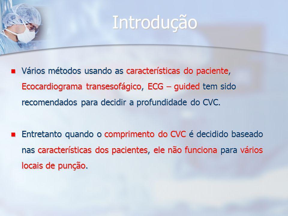 Introdução Vários métodos usando as características do paciente, Ecocardiograma transesofágico, ECG – guided tem sido recomendados para decidir a profundidade do CVC.