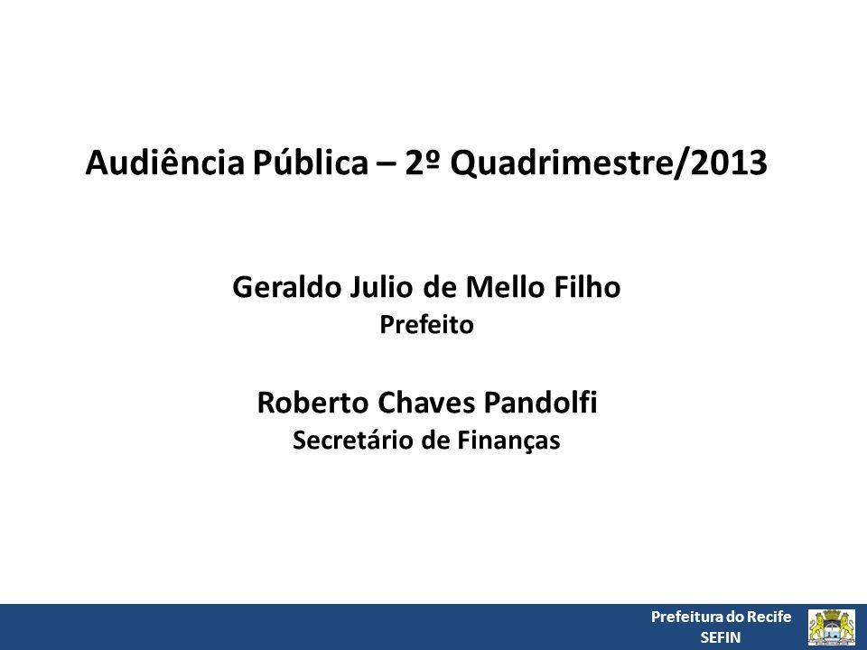 Prefeitura do Recife SEFIN Audiência Pública – 2º Quadrimestre/2013 Geraldo Julio de Mello Filho Prefeito Roberto Chaves Pandolfi Secretário de Finanças