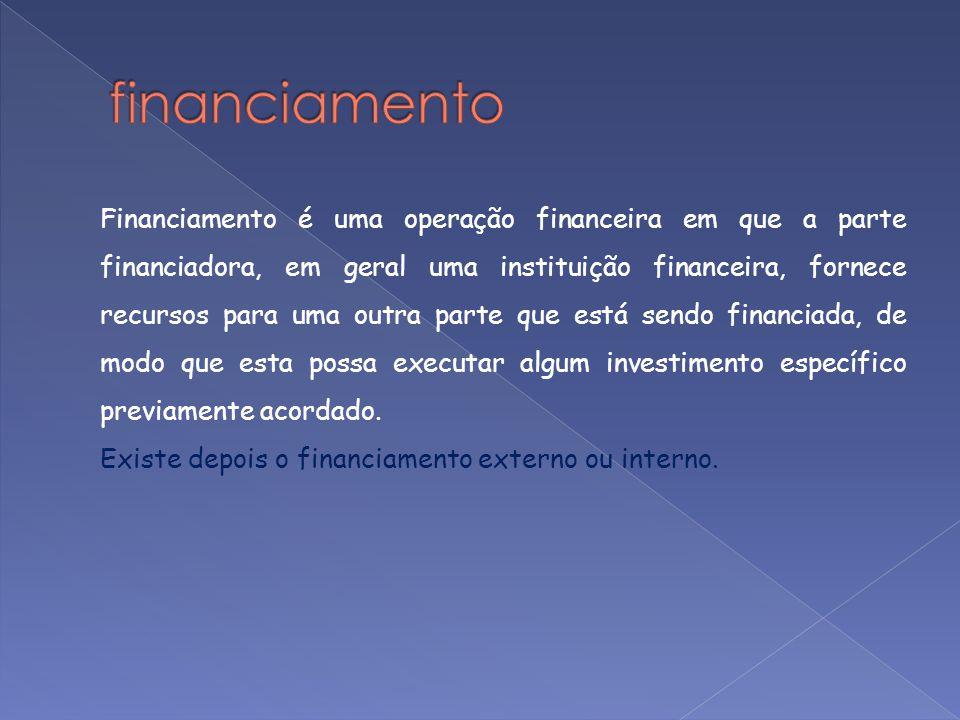 Financiamento é uma operação financeira em que a parte financiadora, em geral uma instituição financeira, fornece recursos para uma outra parte que es