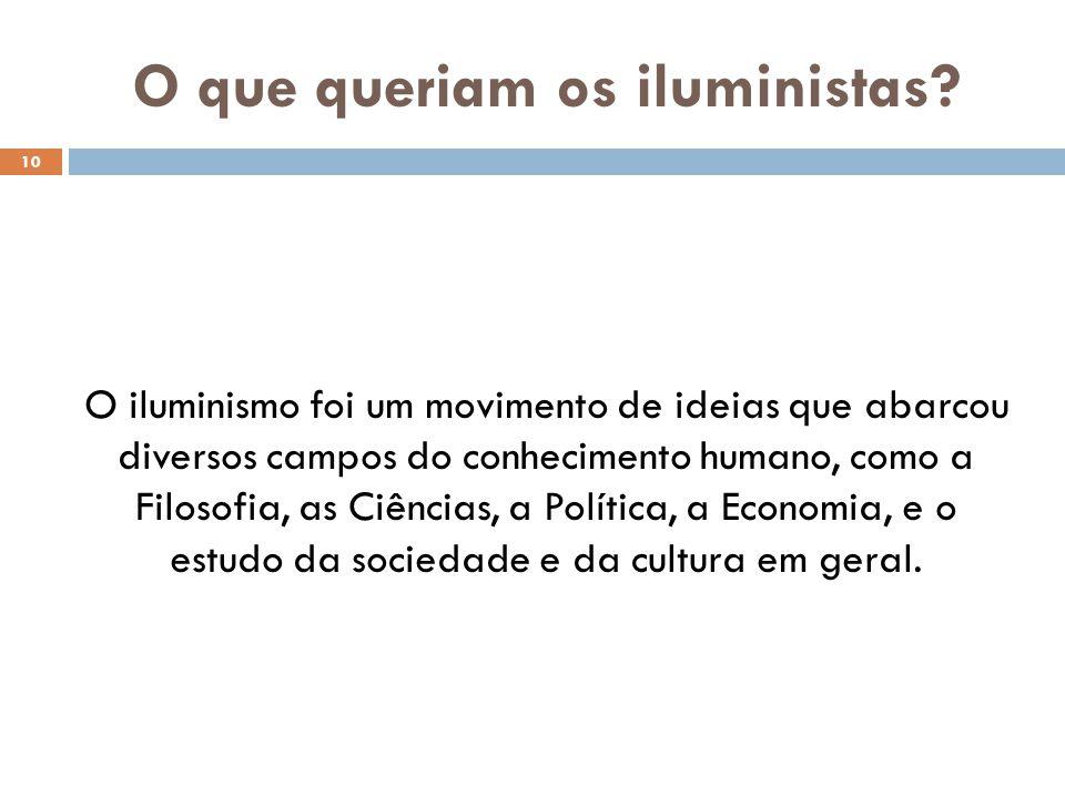 O que queriam os iluministas? 10 O iluminismo foi um movimento de ideias que abarcou diversos campos do conhecimento humano, como a Filosofia, as Ciên