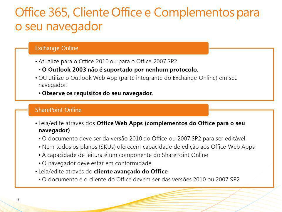 Identidade 9 Microsoft Online Identity (Atual) Credenciais Online independentes Fazer logon a cada sessão Logon único (SSO) Usando Identidade Federada Fazer logon com credenciais corporativas Requer função de servidor ADFS 2.0 implantada localmente