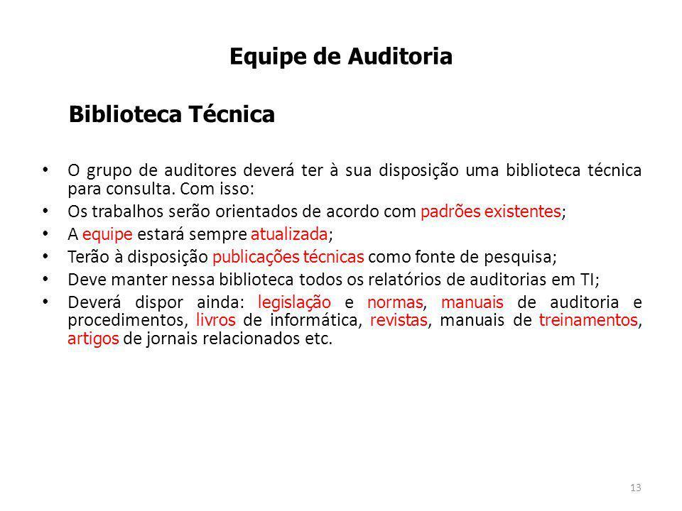 O grupo de auditores deverá ter à sua disposição uma biblioteca técnica para consulta.