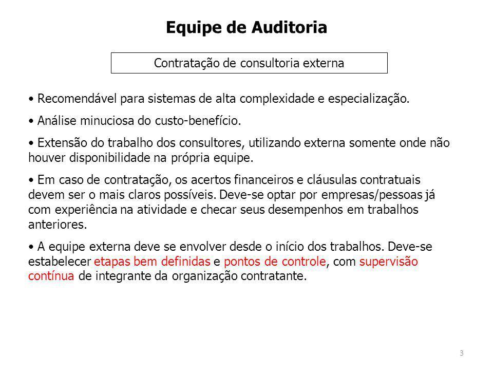 3 Equipe de Auditoria Recomendável para sistemas de alta complexidade e especialização.
