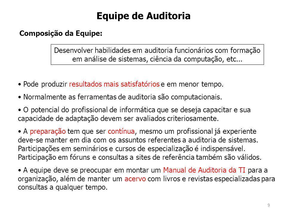 9 Equipe de Auditoria Pode produzir resultados mais satisfatórios e em menor tempo.