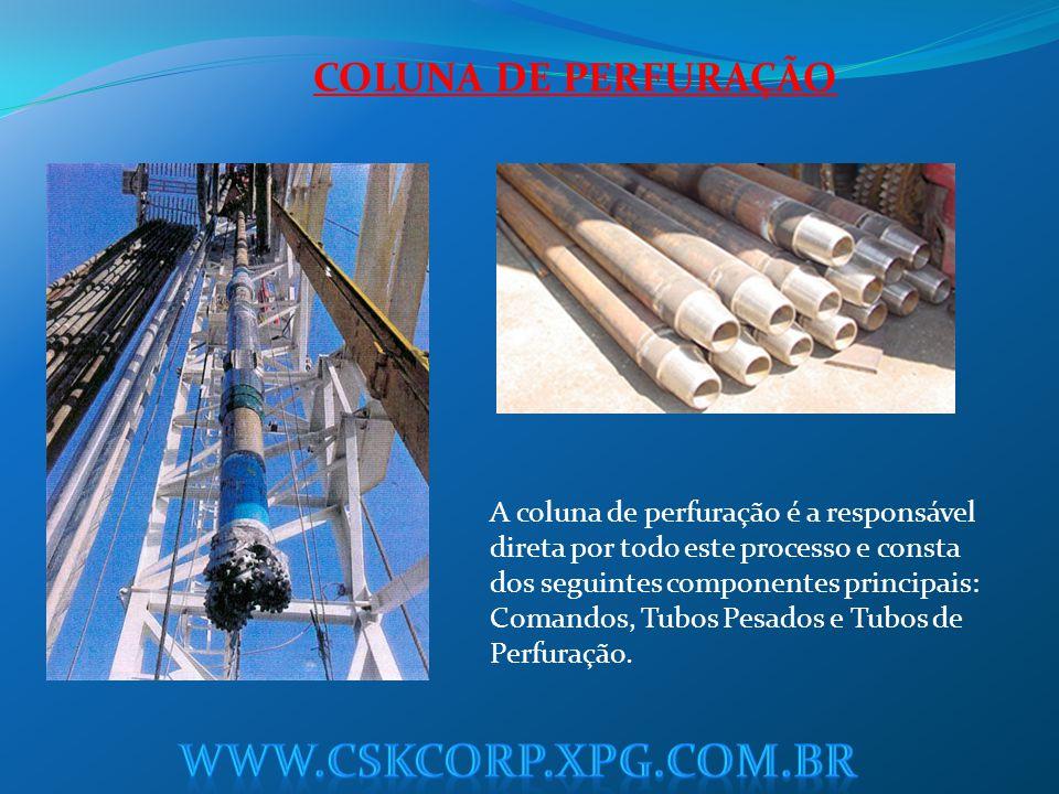 COLUNA DE PERFURAÇÃO A coluna de perfuração é a responsável direta por todo este processo e consta dos seguintes componentes principais: Comandos, Tub