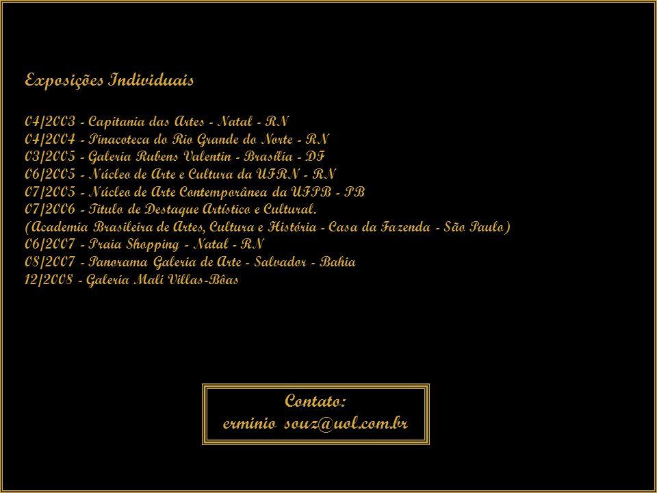 Exposições Coletivas 05/1996 - Novo Leblon - Condomínio - RJ 06/1998 - Shopping Millenium - RJ 04/2002 - Praia Shopping - Natal - RN 06/2002 - Salão da Marinha - Natal - RN 12/2002 - Salão da Marinha - Natal - RN 12/2004 - Salão de Artes Plásticas de Natal - RN 07/2005 - Núcleo de Arte e Cultura da UFRN - RN 10/2005 - Salão XIII Unifor Plástica - Fortaleza - CE 12/2004 - 12/2005 - Salão da Semana da Marinha - Natal - RN ( 3° Lugar ) 12/2006 - VI Salão União Nacional dos Artistas Plásticos - São Paulo Prêmio - Destaque Artístico e Cultural 12/2006 - VI Salão União Nacional dos Artistas Plásticos - São Paulo Prêmio - Grande Medalha de Ouro - Conjunto de Obras Caminho da Luz, Composição I e Composição II - 2006 04/2007 - II Salão Nacional de Artes Plástica, Comemorativo dos 453 anos de São Paulo.