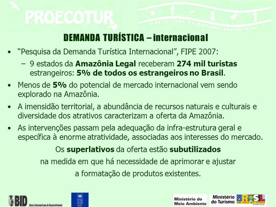 "DEMANDA TURÍSTICA – internacional ""Pesquisa da Demanda Turística Internacional"", FIPE 2007: –9 estados da Amazônia Legal receberam 274 mil turistas es"