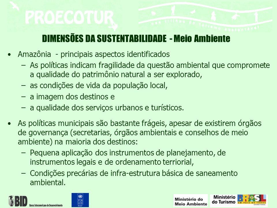 DIMENSÕES DA SUSTENTABILIDADE - Meio Ambiente Amazônia - principais aspectos identificados –As políticas indicam fragilidade da questão ambiental que