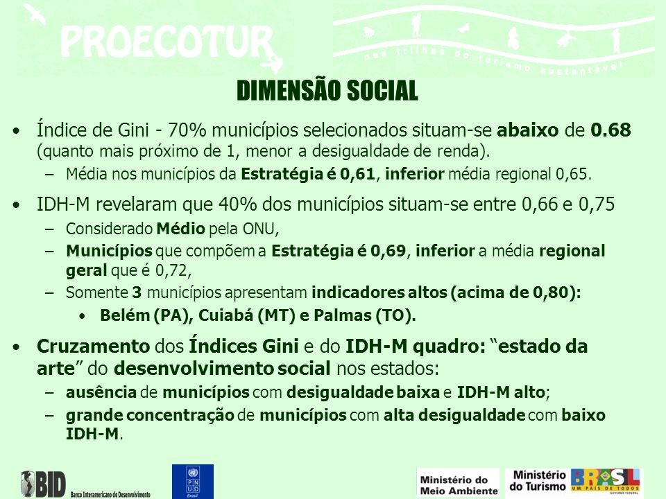 DIMENSÃO SOCIAL Índice de Gini - 70% municípios selecionados situam-se abaixo de 0.68 (quanto mais próximo de 1, menor a desigualdade de renda). –Médi
