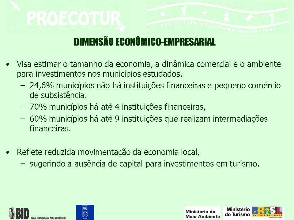 DIMENSÃO ECONÔMICO-EMPRESARIAL Visa estimar o tamanho da economia, a dinâmica comercial e o ambiente para investimentos nos municípios estudados. –24,