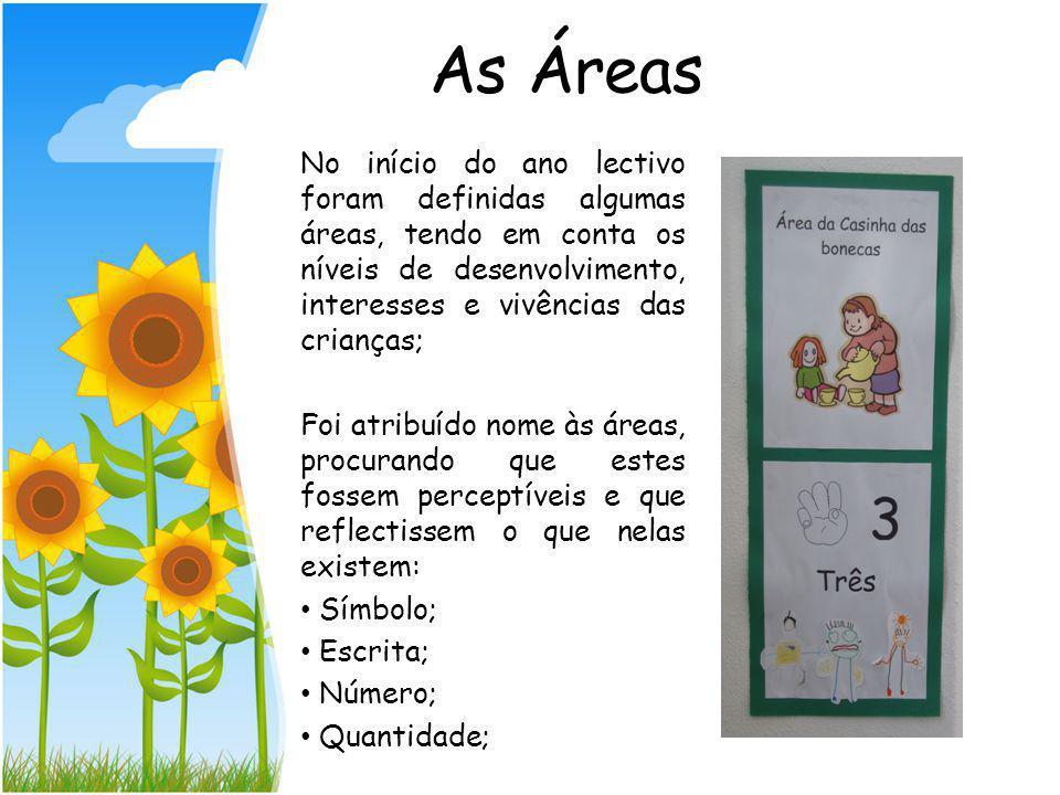 As áreas criadas na sala do Jardim de Infância não são estanques. Pode-se e deve-se criar novas áreas indo ao encontro do interesse do grupo de crianç