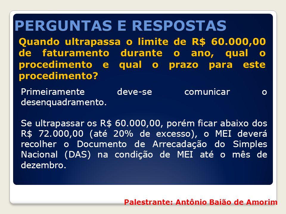 Quando ultrapassa o limite de R$ 60.000,00 de faturamento durante o ano, qual o procedimento e qual o prazo para este procedimento? Quando ultrapassa