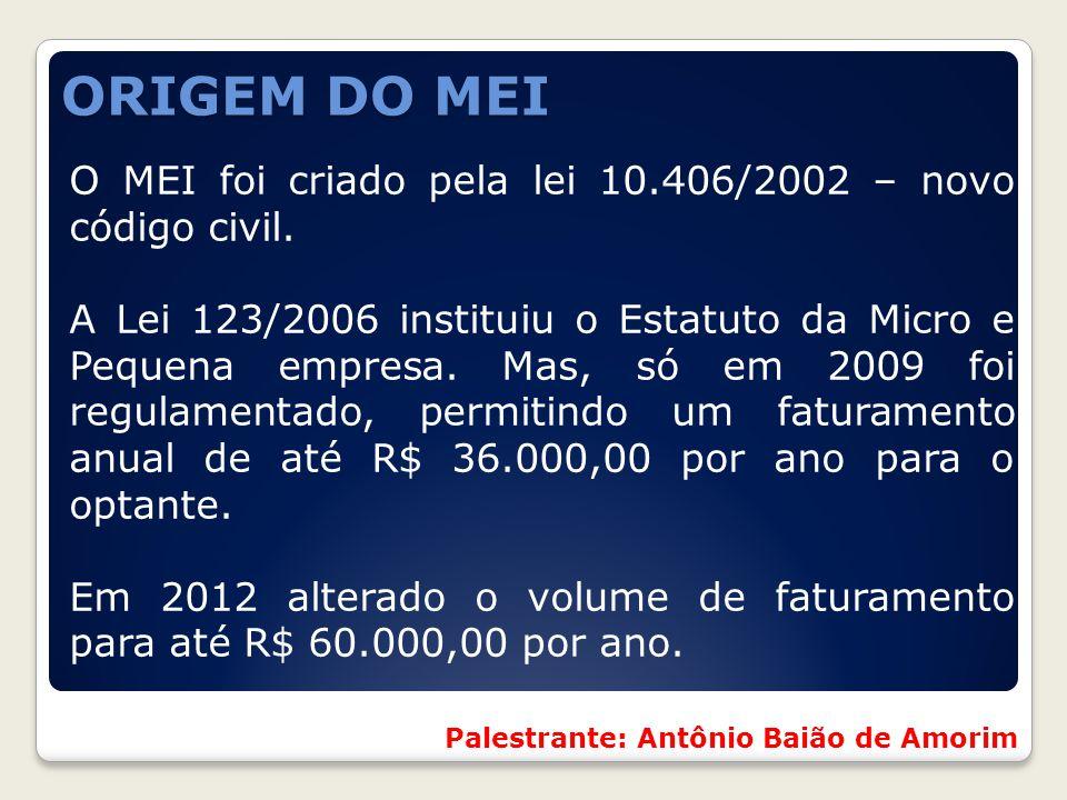 ORIGEM DO MEI O MEI foi criado pela lei 10.406/2002 – novo código civil. A Lei 123/2006 instituiu o Estatuto da Micro e Pequena empresa. Mas, só em 20
