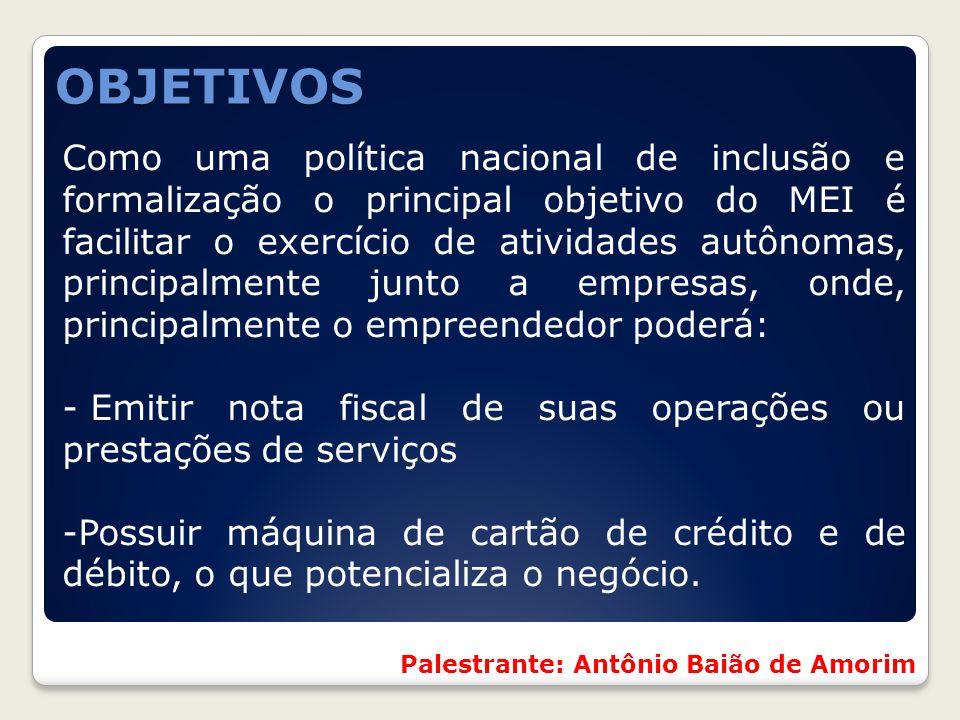 Como uma política nacional de inclusão e formalização o principal objetivo do MEI é facilitar o exercício de atividades autônomas, principalmente junt
