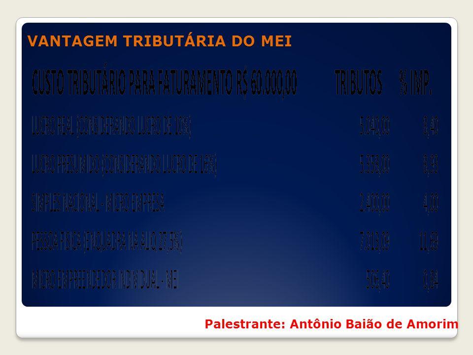 VANTAGEM TRIBUTÁRIA DO MEI VANTAGEM TRIBUTÁRIA DO MEI Palestrante: Antônio Baião de Amorim