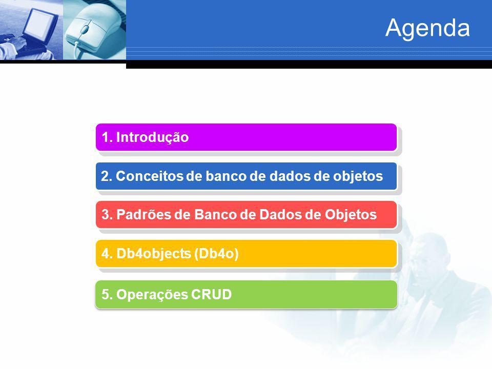 Agenda 1. Introdução 2. Conceitos de banco de dados de objetos 3. Padrões de Banco de Dados de Objetos 3. Padrões de Banco de Dados de Objetos 4. Db4o
