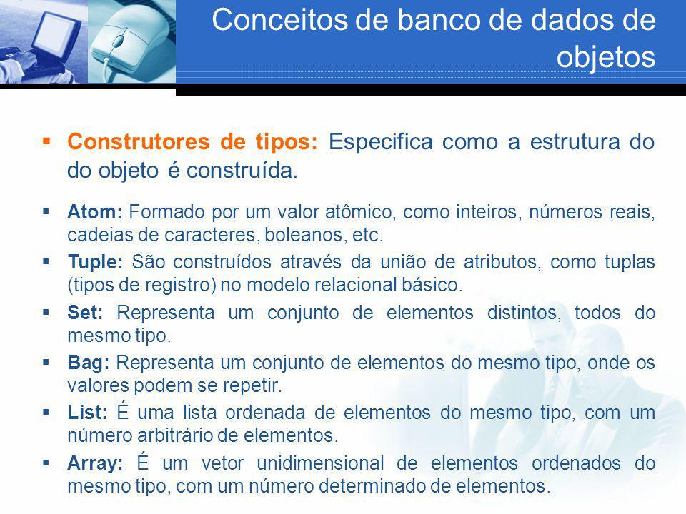 Conceitos de banco de dados de objetos  Construtores de tipos: Especifica como a estrutura do do objeto é construída.  Atom: Formado por um valor at
