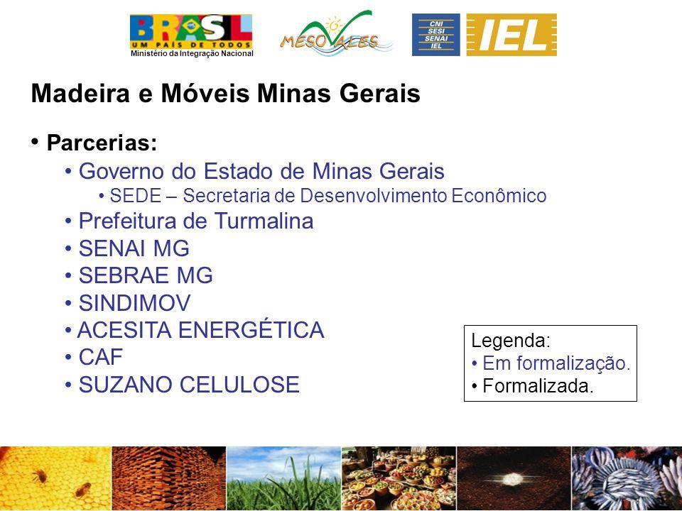 Ministério da Integração Nacional Madeira e MóveisMinas Gerais Parcerias: Governo do Estado de Minas Gerais SEDE – Secretaria de Desenvolvimento Econô