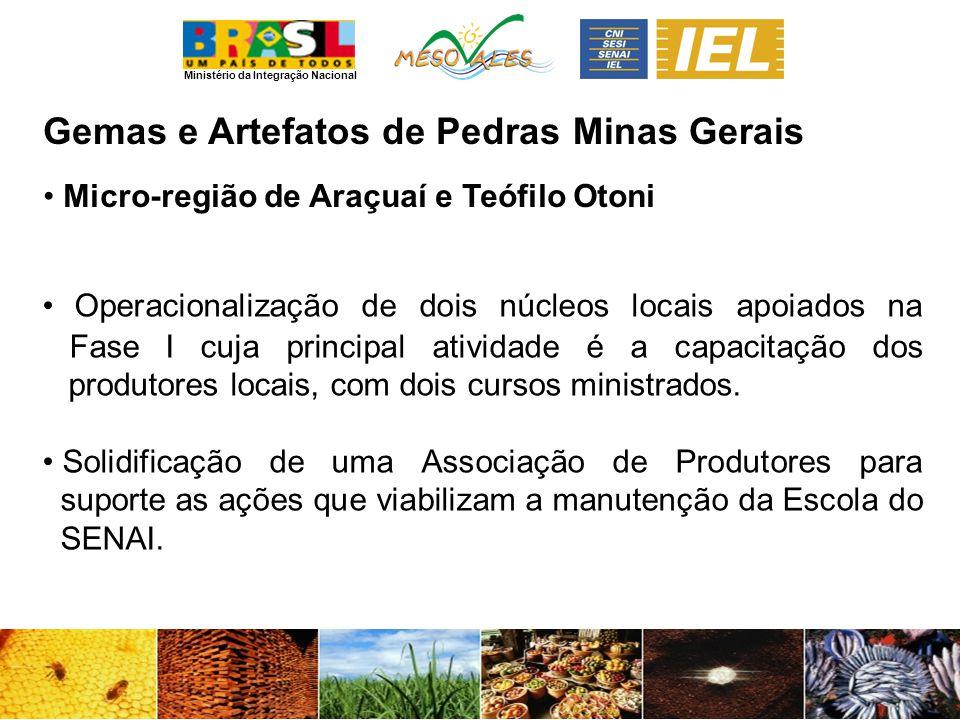 Ministério da Integração Nacional Gemas e Artefatos de PedrasMinas Gerais Micro-região de Araçuaí e Teófilo Otoni Operacionalização de dois núcleos locais apoiados na Fase I cuja principal atividade é a capacitação dos produtores locais, com dois cursos ministrados.