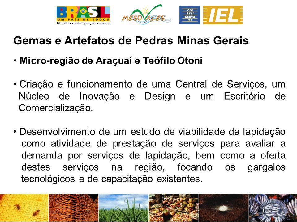 Ministério da Integração Nacional Gemas e Artefatos de PedrasMinas Gerais Criação e funcionamento de uma Central de Serviços, um Núcleo de Inovação e Design e um Escritório de Comercialização.