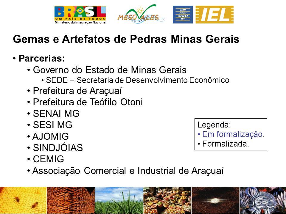 Ministério da Integração Nacional Gemas e Artefatos de PedrasMinas Gerais Parcerias: Governo do Estado de Minas Gerais SEDE – Secretaria de Desenvolvi