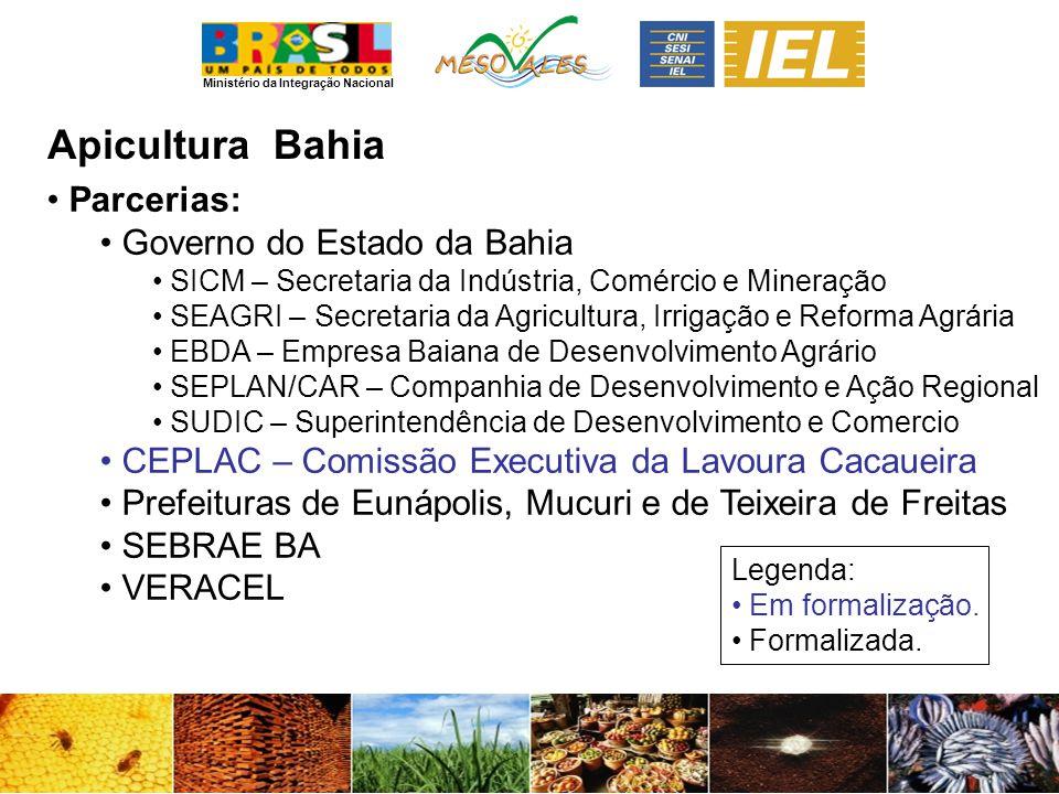 Ministério da Integração Nacional ApiculturaBahia Parcerias: Governo do Estado da Bahia SICM – Secretaria da Indústria, Comércio e Mineração SEAGRI –