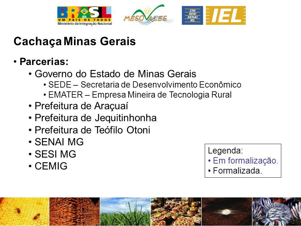 Ministério da Integração Nacional CachaçaMinas Gerais Parcerias: Governo do Estado de Minas Gerais SEDE – Secretaria de Desenvolvimento Econômico EMAT