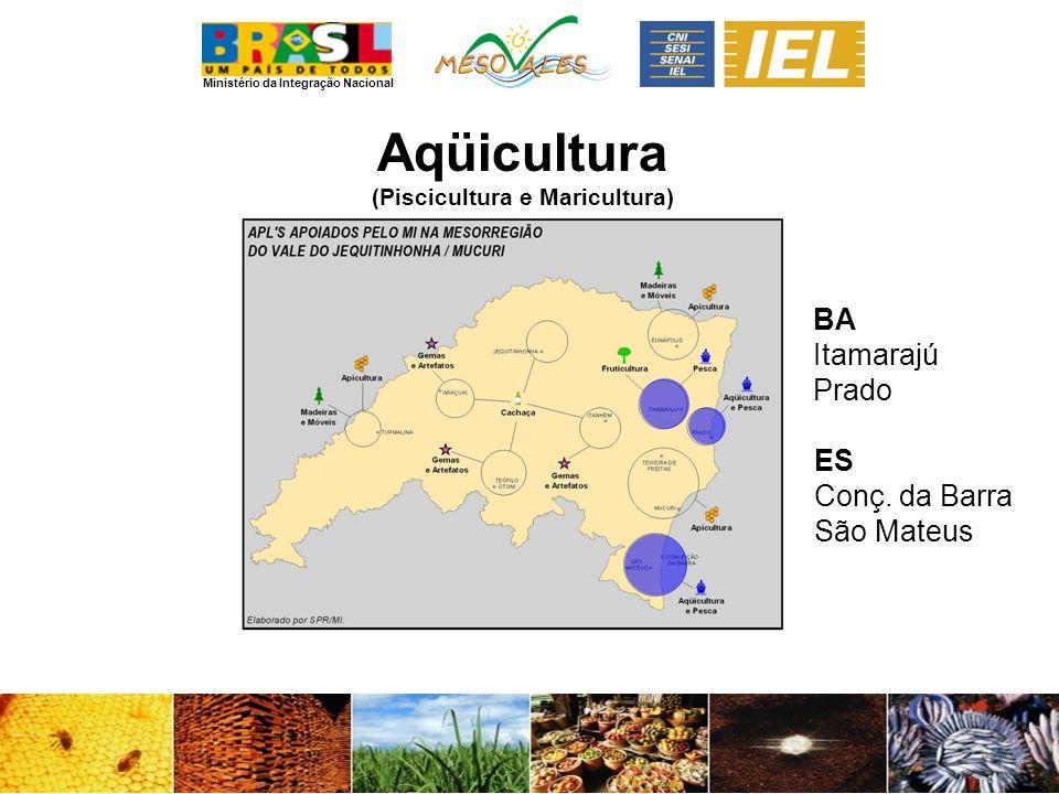 Ministério da Integração Nacional Aqüicultura (Piscicultura e Maricultura) BA Itamarajú Prado ES Conç. da Barra São Mateus