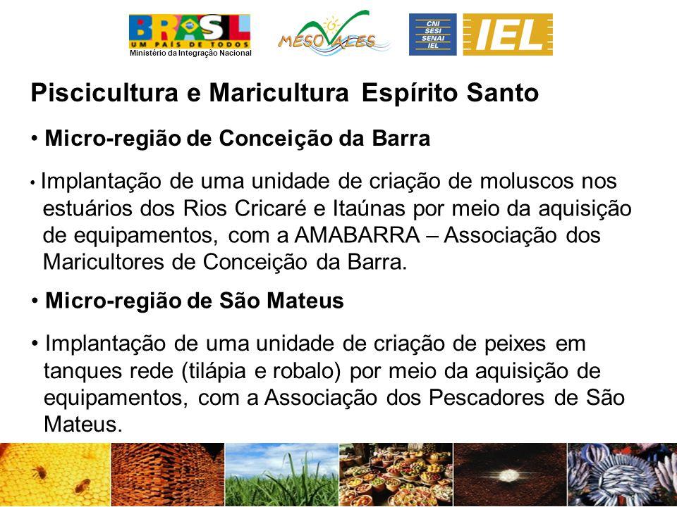 Ministério da Integração Nacional Piscicultura e MariculturaEspírito Santo Micro-região de Conceição da Barra Micro-região de São Mateus Implantação d