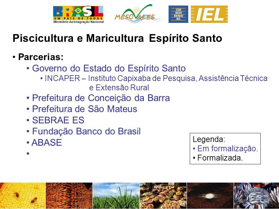 Ministério da Integração Nacional Piscicultura e MariculturaEspírito Santo Parcerias: Governo do Estado do Espírito Santo INCAPER – Instituto Capixaba