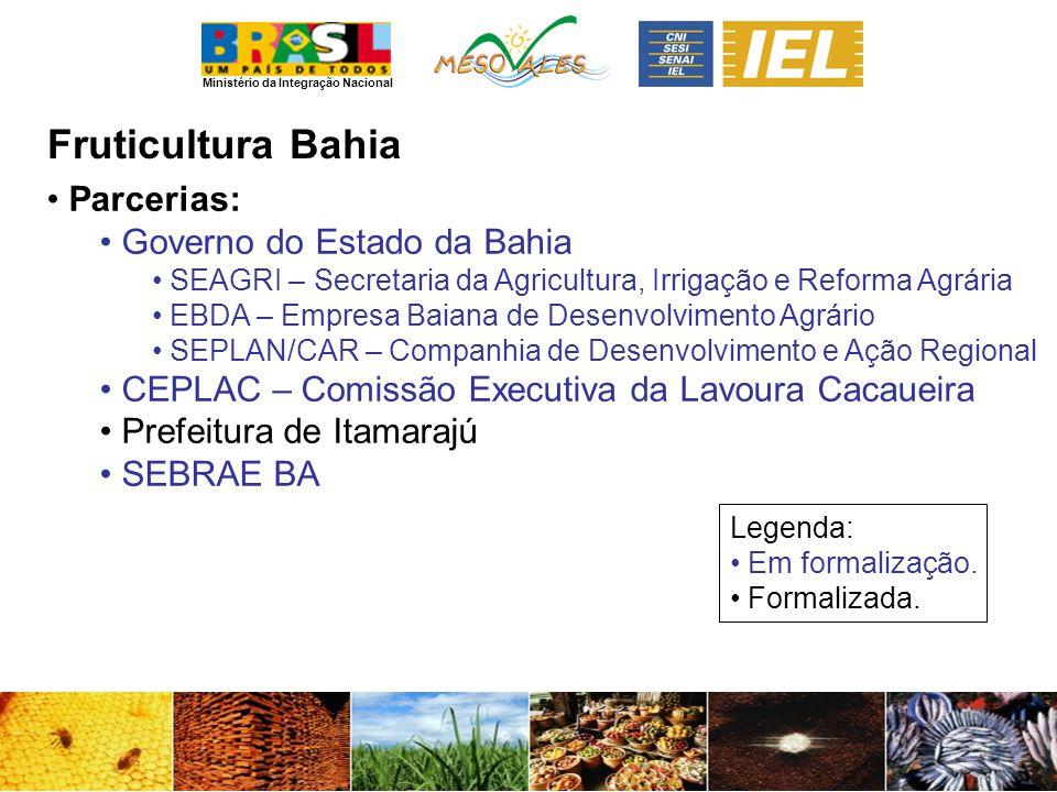 Ministério da Integração Nacional FruticulturaBahia Parcerias: Governo do Estado da Bahia SEAGRI – Secretaria da Agricultura, Irrigação e Reforma Agrá