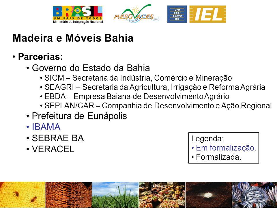 Ministério da Integração Nacional Madeira e MóveisBahia Parcerias: Governo do Estado da Bahia SICM – Secretaria da Indústria, Comércio e Mineração SEA