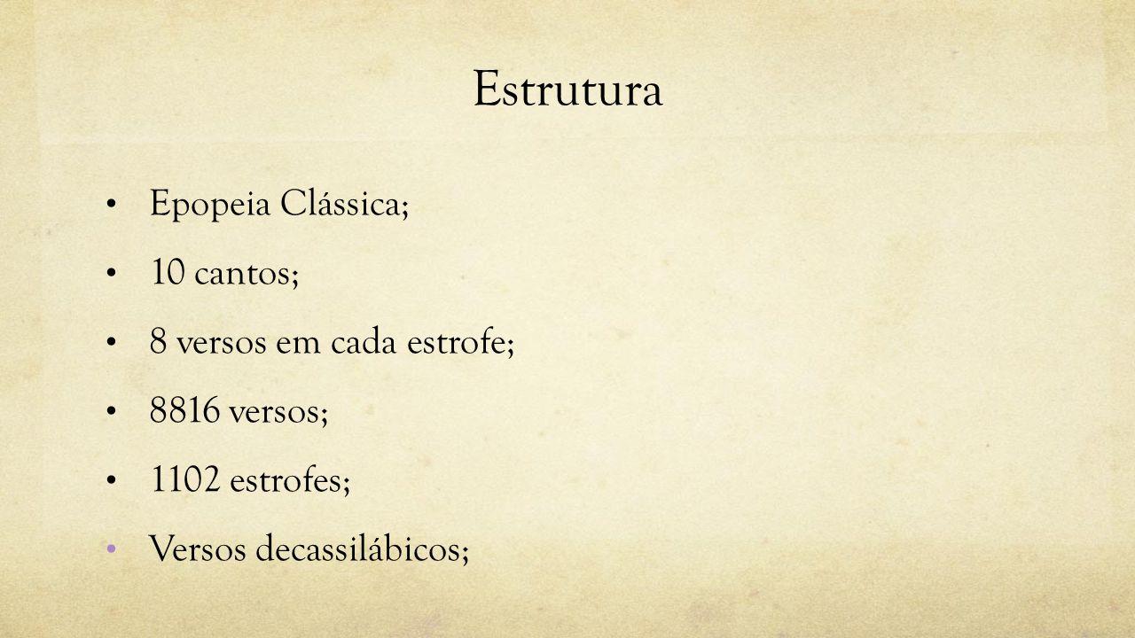 Estrutura Epopeia Clássica; 10 cantos; 8 versos em cada estrofe; 8816 versos; 1102 estrofes; Versos decassilábicos;