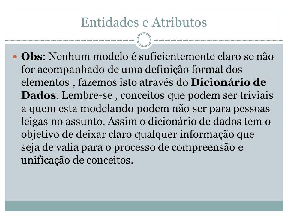 Entidades e Atributos Obs: Nenhum modelo é suficientemente claro se não for acompanhado de uma definição formal dos elementos, fazemos isto através do