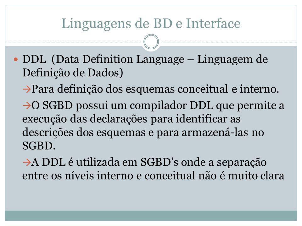 Linguagens de BD e Interface DDL (Data Definition Language – Linguagem de Definição de Dados)  Para definição dos esquemas conceitual e interno.  O