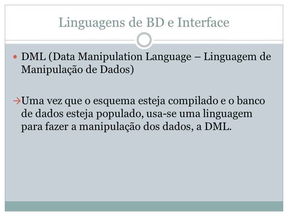 Linguagens de BD e Interface DML (Data Manipulation Language – Linguagem de Manipulação de Dados)  Uma vez que o esquema esteja compilado e o banco d