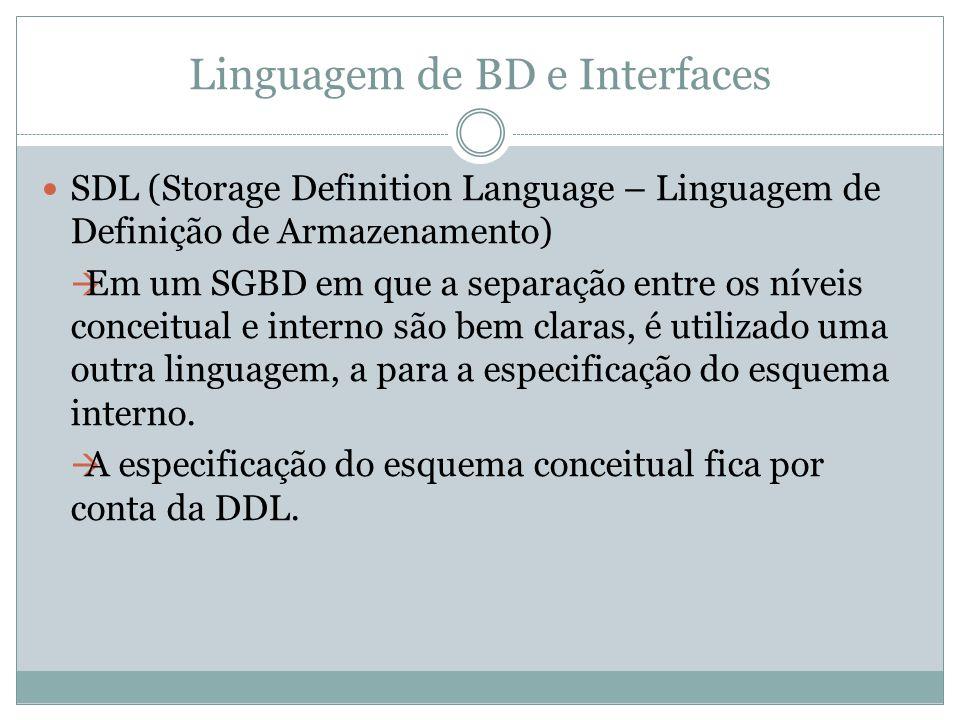 Linguagem de BD e Interfaces SDL (Storage Definition Language – Linguagem de Definição de Armazenamento)  Em um SGBD em que a separação entre os níve
