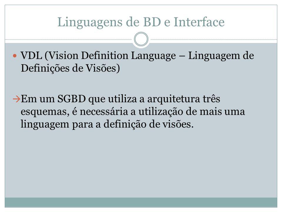 Linguagens de BD e Interface VDL (Vision Definition Language – Linguagem de Definições de Visões)  Em um SGBD que utiliza a arquitetura três esquemas
