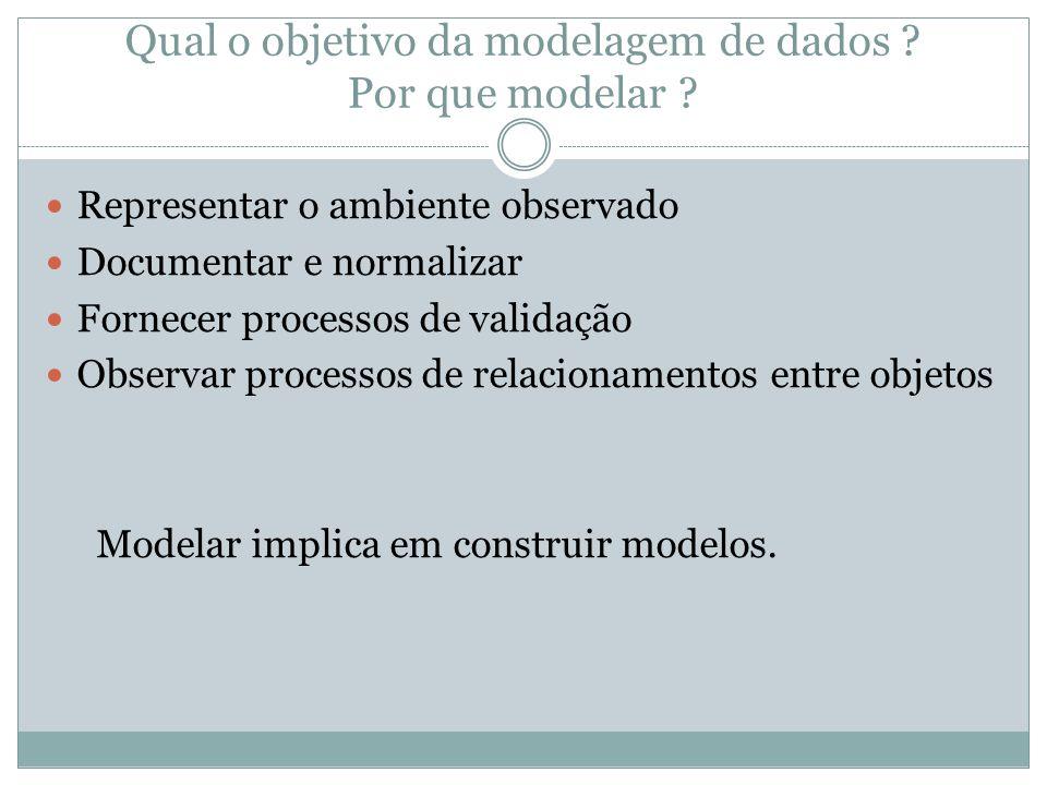 Qual o objetivo da modelagem de dados ? Por que modelar ? Representar o ambiente observado Documentar e normalizar Fornecer processos de validação Obs
