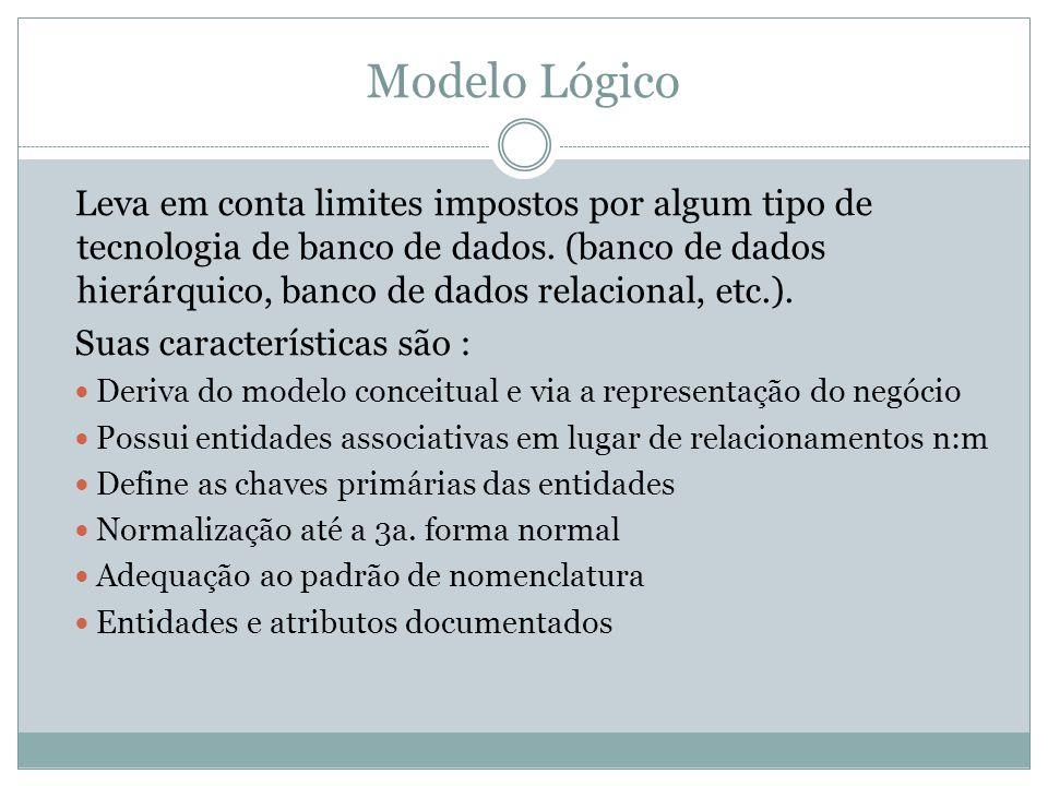 Modelo Lógico Leva em conta limites impostos por algum tipo de tecnologia de banco de dados. (banco de dados hierárquico, banco de dados relacional, e