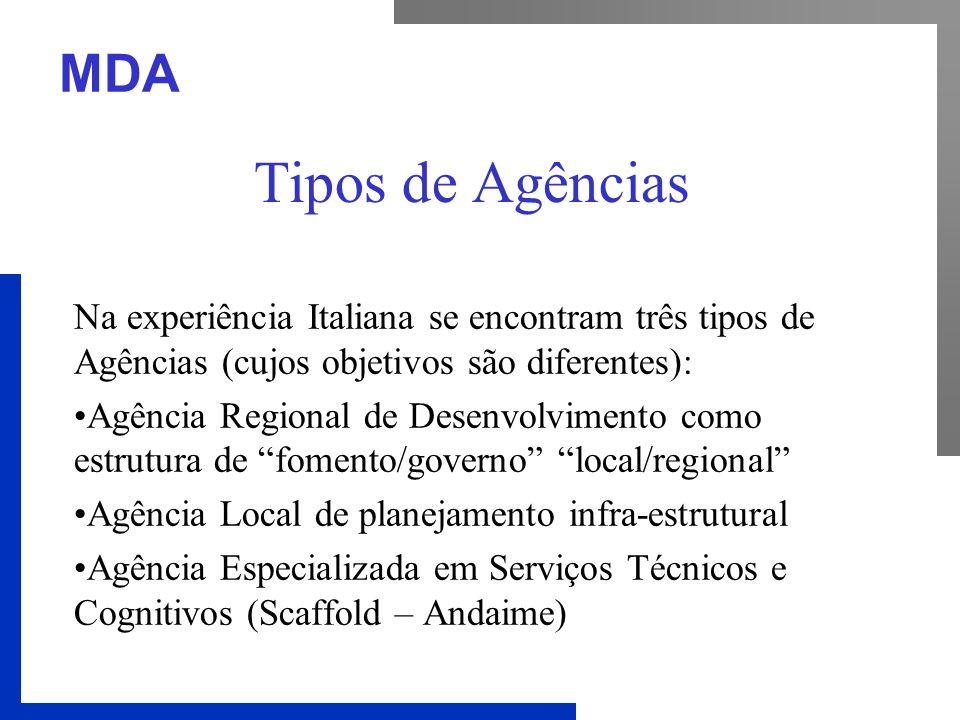 MDA Tipos de Agências Na experiência Italiana se encontram três tipos de Agências (cujos objetivos são diferentes): Agência Regional de Desenvolviment