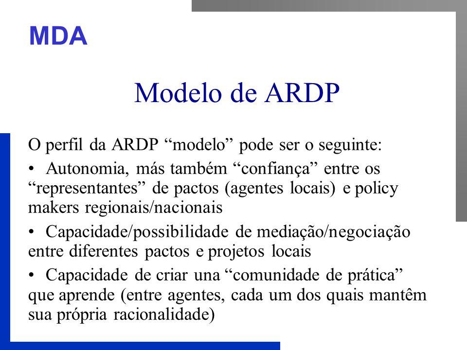 """MDA Modelo de ARDP O perfil da ARDP """"modelo"""" pode ser o seguinte: Autonomia, más também """"confiança"""" entre os """"representantes"""" de pactos (agentes locai"""